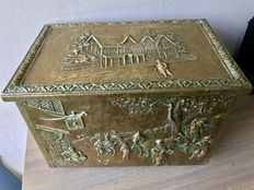 Carved antique copper Peat/coal container.