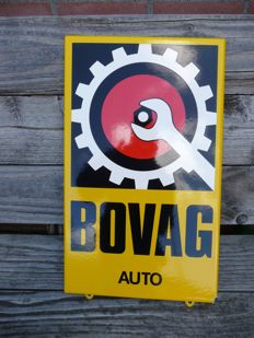 Enamel Bovag CAR sign, from the late 20th century.