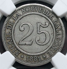 New Caledonia - 25 Centimes 1881 'Mining Society' - Nickel