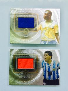 Pele & Maradona - Match-Game Worn Jersey Cards