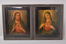 2 large religious pictures - Sacred Heart Mary / Sacred Heart Jesus