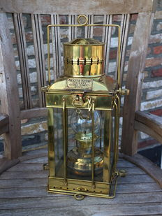 CARGO LIGHT, large size ship's lamp, made in solid brass.