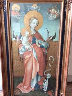 Very old religious painting in old frame