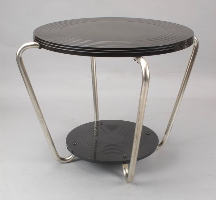 Beau Art Deco Bakelite And Chromed Metal Round Coffee/side Table