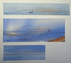 Franklin Meijer (1945) - Waddenzee - Lot of 4 watercolour studies with images of Mediterranean gulls and the Wadden Sea