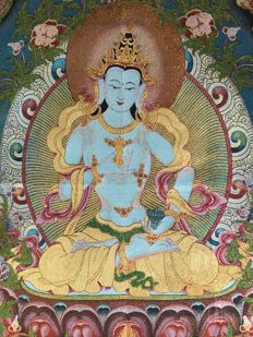 Depiction of Vajrasattva on fabric and silk - Nepal - early 21st Century.