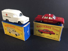 Lesney Matchox - Misc. scales - Lomas Ambulance No.14 and Fire Chief's Car No.59