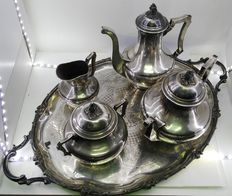 Coffee service in French silver, punched, Louis Coinet, ca. 1890