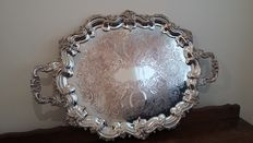cavalier chased tray silver plated 71cm