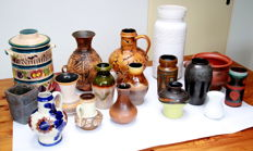 West-Germany, 16 vases and 1 plate