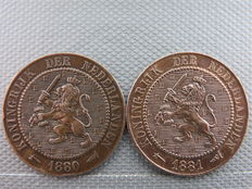The Netherlands - 2 1/2 cents 1880 and 1881 Willem III