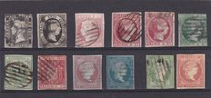 Spain 1850/1920 - Selection of stamps on stockcards.