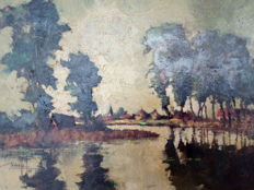 Saeys Isidore, (1911 - 1989) -  Water landscape with trees (Belgian)