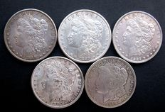 Unites States – 1 dollar 'Morgan' 1888/1921 (5 different coins) – Silver