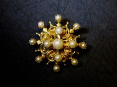 Signed Coro brooch with faux pearls
