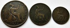 United Kingdom - Farthing, ½ Penny and Penny 1875H (Heaton) Victoria (3 pieces)