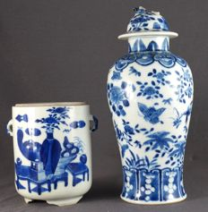 Lidded vase and jar with blue decorations in underglazing - China - 13th century