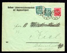 German Empire 1922 - labourer 50 M blue-green on letter with additional franking, Michel 245