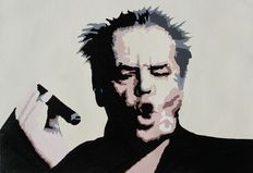 Jack Nicholson - Original work - Oil painting on canvas - Jack Nicholson smoking cigar - unknown streetartist - from the movie How Do You Know