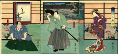 Woodcut triptych by Nakai Yoshitaki – Japan – around 1875