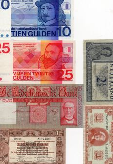 Netherlands - 6 different banknotes