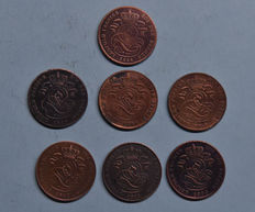 Belgium – 2 centimes 1844/1865 Leopold I (7 different ones)