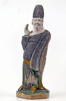 Chinese Polychrome-Glazed Attendant