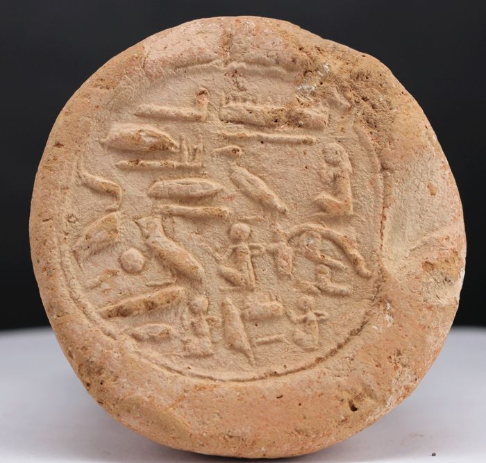 Used, Very fine Funerary Cone for overseer of the seal Amunhotep - Ø ca. 8,5cm x 12,0cm - c. for sale