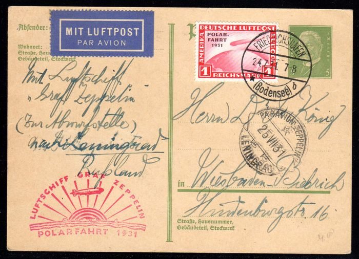 "German Empire/Reich 1931 - ""Polar journey 1 RM on card with zeppelin stamp of the polar journey"" to Leningrad - Michel 456"