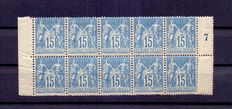 France 1877-1880 – Allegorical group YT no. 90  (type II) Block of 10 stamps, edge of sheet