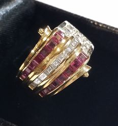 Gold ring with 1.20 ct rubies and 0.60 ct diamonds