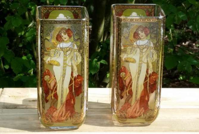 Alphonse Mucha The Four Seasons 1900 2 Vases In Glass By Goebel