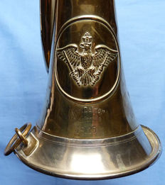 Rare and Original WW1 Imperial German Prussian Army Bugle - dated to 1915