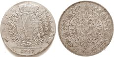 Germany and Austria - thaler 1767 EDC Friedrich August III and 5 corona 1909 Franz Joseph