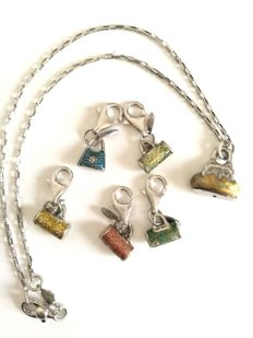 Necklace in 925 silver and five enamelled, 925 silver charms