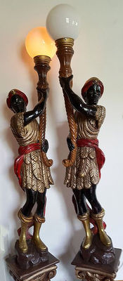 Two Blackmoor plaster / wood lamps, 190 and 185 tall, 2nd half of 20th century