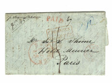 Brooklyn 1844 - folded letter to Paris, using Anglo/French Postal Convention shipped with paddle wheel CALEDONIA