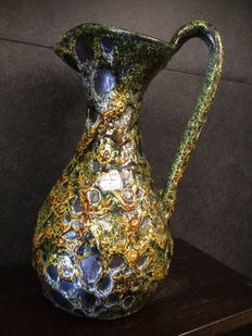 Charles Cart - Antique vase with an amber green colour LAVA ceramic, Annecy, France