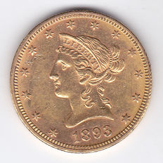 United States – 10 Dollars 1893 'Liberty Head Eagle' – gold