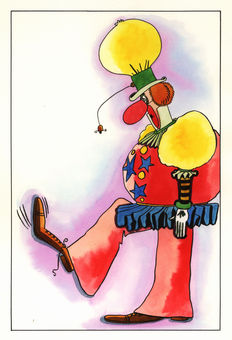 Rosy, Maurice- Large Original Drawing- Clown- (1971)