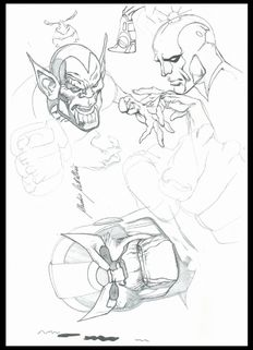 "Castellini, Claudio - Original sketch of ""Thanos, Skrull and Silver Surfer"""