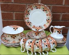 G.W.& Sons Queens China floral brown pattern tea set - 22 items