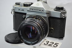 Pentax KM camera with pentax 1:2 55 mm lens