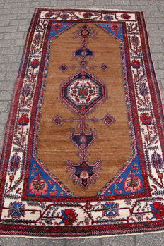 Rare, came- coloured, tribal, Kurdish carpet, 227 x 131 cm.