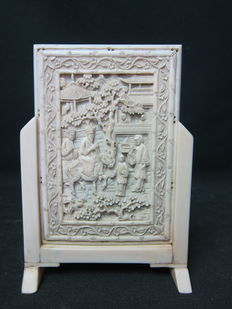 Cantonese antique ivory table divider, China, nineteenth century