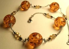 Amber necklace925 silver, antique jewellery from ITaly, 24.9 g, no reserve price