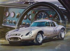 Original lithography of Hessel BES - Jaguar E-type - 'Absolutely British'