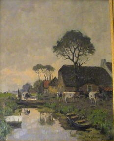 Unknown artist - Polder landscape with ditch, cows, figures and farm