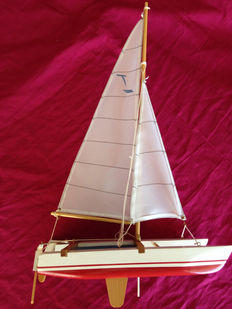 Catamaran in wood and brass 54 x 32