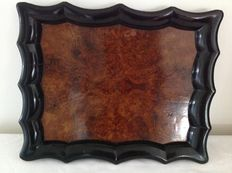 rectangular Burl Walnut tray with black lacquered rim, circa 1900